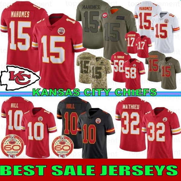15 Patrick Mahomes II Football Maillots Maillots Kansas Ville Hommes Chef 10 Colline 87 Travis Kelce 32 Mathieu 17 Hardman 29 Berry 50 Houston