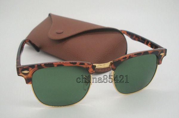 Hochwertige Mens Womens Sonnenbrille Semi-Rimless Sonnenbrille Tortoise Frame Green Glass Lenses 51mm Mit Brown Case