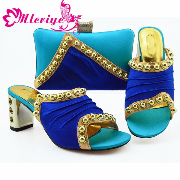 Blue Color New Design African Elegant Shoes And Bag To Match Set Italian Comfortable Heels Party Shoes And Bag Set For Wedding