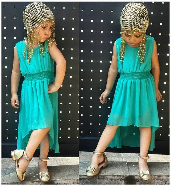 Summer Kids Dress Fashion Casual Dovetail Design Girls Dresses Cute Baby Girl Dresses Front Short Back Long Beach Dresses