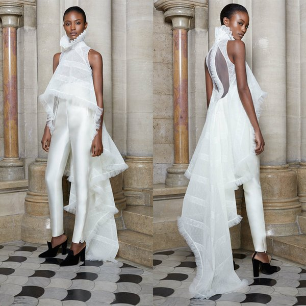 2019 Ashi Studio Prom Dresses High Neck Pant Suits Two Pieces White Evening Dress Custom Made Party Gowns Formal Occasion Wear
