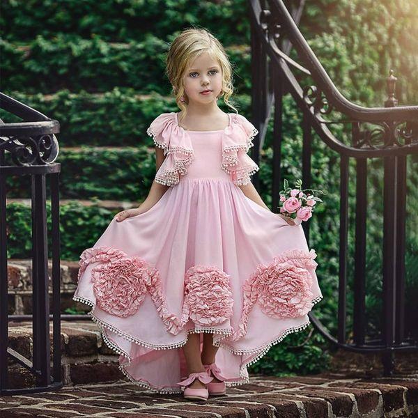 Élégant Haute Basse Bohême Des Robes De Fille De Fleur Pour La Plage Mariage Pageant Robes Une Ligne Cascade De Volants En Mousseline De Soie Boho Enfants Communion Robe
