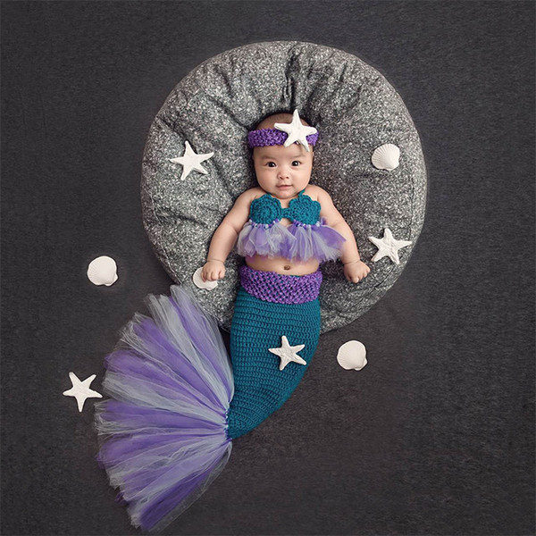 Newborn photography props infant mermaid tail costume baby fotografie prop knitting new born outfit photo shooting baby props accessories