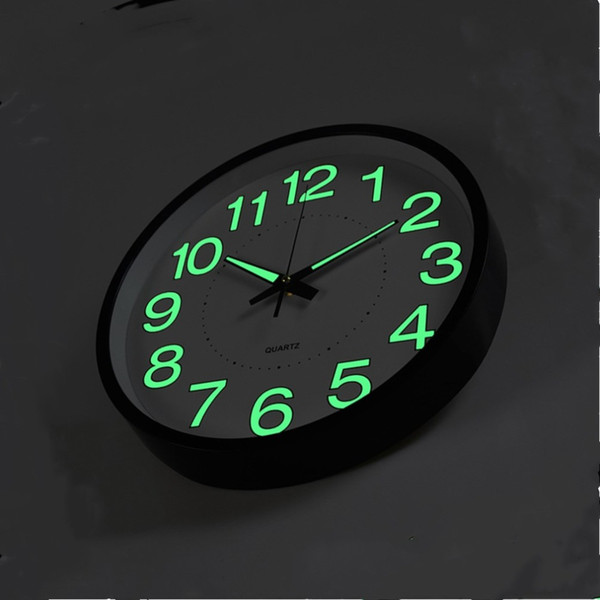 best selling 12 Inch 30 CM Luminous Wall Clock Glow In The Dark Quartz Watch for Kids Rooms Bedroom Living Room Hanging Clock Home Decoration