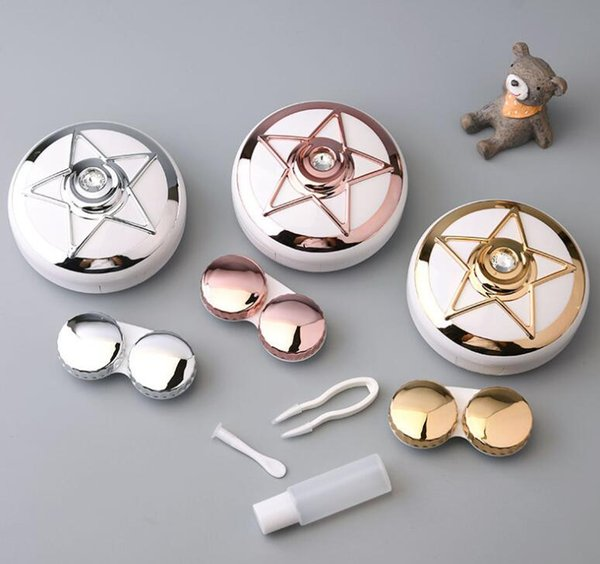 New fashion star drill pattern decorative contact lens box 7.5*7.5*3.1cm DHL free shipping
