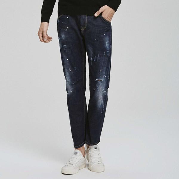 Mark Fairwhale 2019 neue Ankunft Streetwear zerrissene Löcher gewaschen Denim Malerei Punkte gerade Jeans Männer 718121011004
