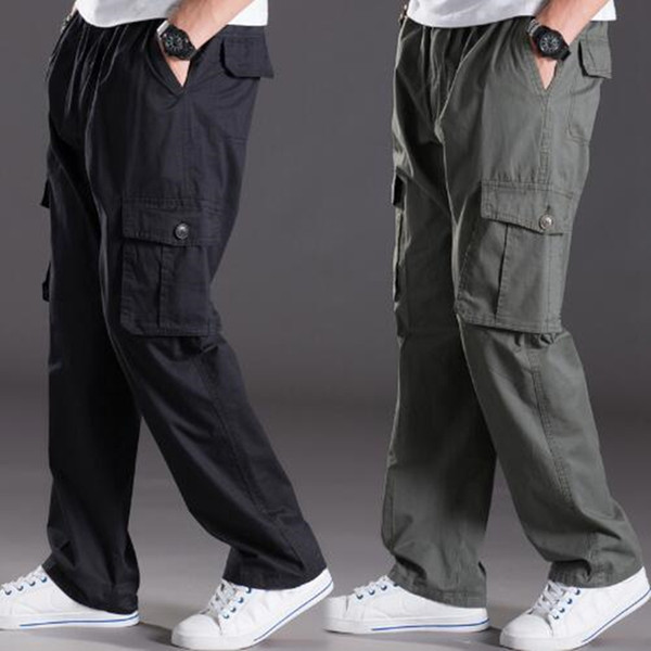 Spring summer casual pants male big size 6XL Multi Pocket trousers oversize Pants overalls elastic waist pants plus size men