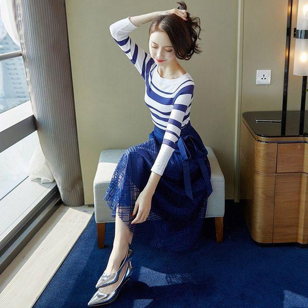 2019 Women Fashion Elegant Skirts Suits Female Striped Tops and Mesh Midi Skirt Set Ladies 2 Piece Set
