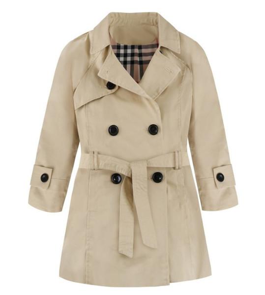 Automne et hiver nouveau moyen boucle double rangée de style britannique européens et américains et les filles ceinture Lapel long manteau coupe-vent
