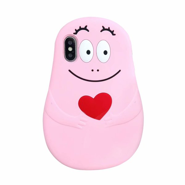 For Iphone XR XS MAX X 10 8 7 Plus 6 6S 3D Barbapapa Soft Silicone Case Love Heart Smile Cartoon Designer Luxury Rubber Phone Covers