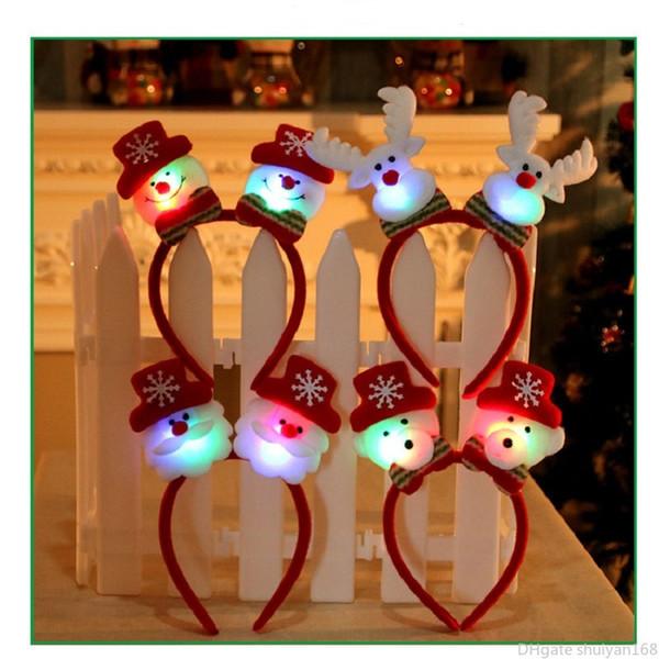LED di Natale luminoso fascia Hairband Luce d'ardore di Babbo Natale dei cervi del pupazzo di neve dei capelli della fascia per i bambini della decorazione del partito di accessori regalo di Natale