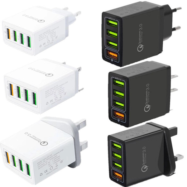 Carregamento rápido QC3.0 4 Port Carregador de Parede USB Carregador de Viagem Portátil Adaptador De Alimentação com Plugue Dobrável Para samsung s10 com caixa de varejo