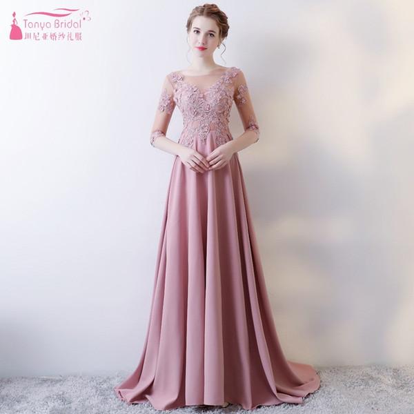 Una línea larga rosa vestidos de dama de honor apliques de encaje vestido de boda formal vestidos dama de honor invitado vestido