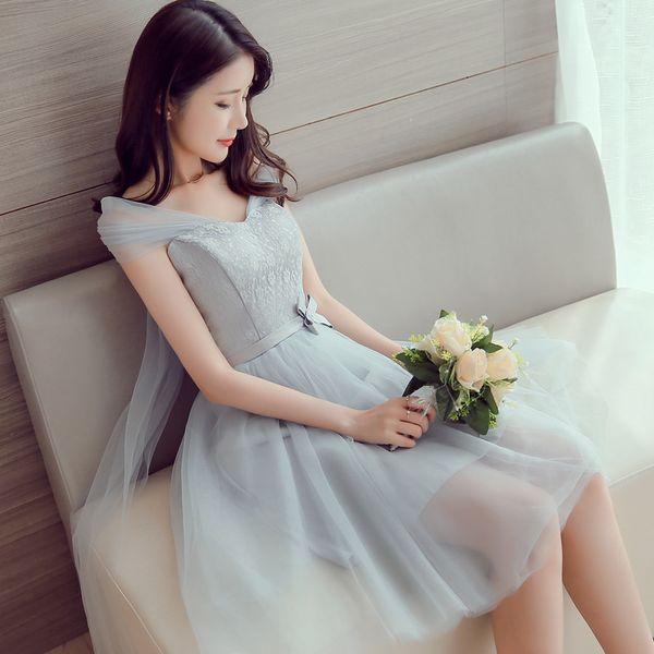 2017 новые платья невесты плюс размер акции дешевые под $50 серый серебристый атлас линия короткие сексуальные тюль кружева романтический