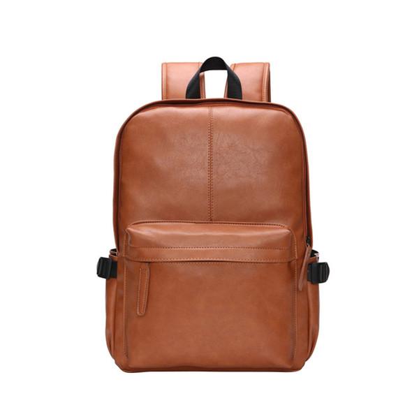 Новый мужской рюкзак Черная кожа Студент Повседневная Рюкзак большой емкости Мужская дорожная сумка Мужчины Повседневная Рюкзаки H30517