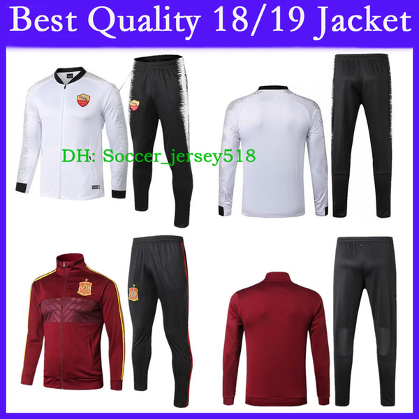 :) 2018/19 Top Quality Jacket Tracksuit Roma Spain Soccer Uniform Long Sleeve Full Zipper Training Soccer Jersey Pants Football Kit
