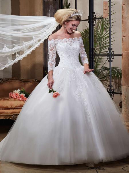 Splendida White Off spalla 3/4 maniche applique perline Ball Gown abiti da sposa abiti da sposa abiti da festa da sposa taglia personalizzata 2-18 WW211096