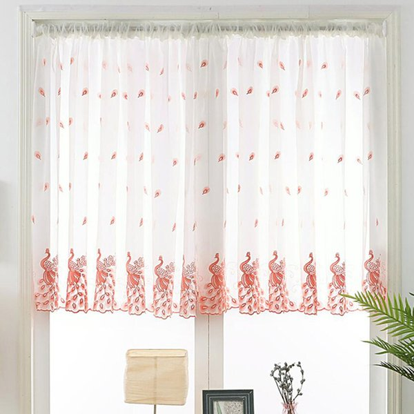 Household High Quality Peacock Embroidered Window Gauze Modern Home Study Bedroom Floating Curtain Decoration Finished Product