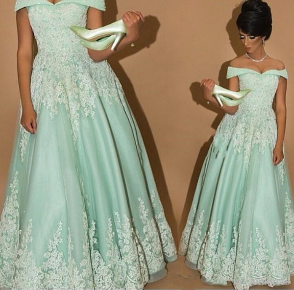 Mint Green A Line Long Evening Party Gowns with Lace Applique Off Shoulder Mother of the Bride Party Prom Dresses