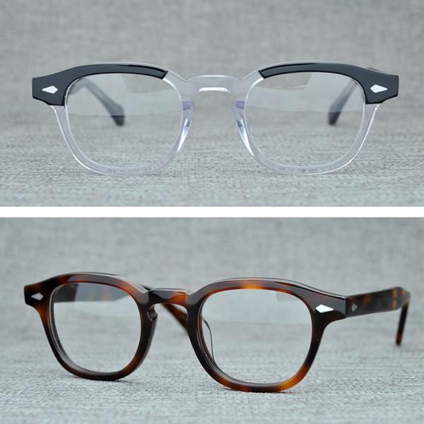 Rodada Handmade Acetato Quadro Mulheres Johnny Depp Men Óculos Marca Designer Computer Goggles Spectacle Optical quadro Demi Miopia