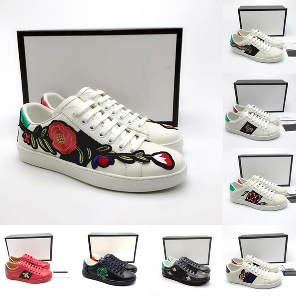 With Box 2019 Vintage Designer Flat Bottom Casual Shoes Triple White Black Leather Bee Star Tiger Pug ACE Luxury Walking Shoes For Men Lady