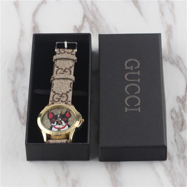 Mit Box Neue Herren Damenmode Quarzuhr 38mm Kautschukband Luxus GG Weibliche Uhr Relogio Montre Femme Geschenk Tisch
