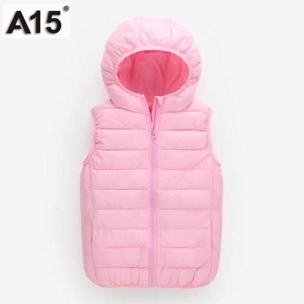 A15 Kids Vest Jackets Boys Light Duck Down Jacket for Girls Coat Teenage Hooded Vest Children Clothes Big Size 8 10 12 14 Year
