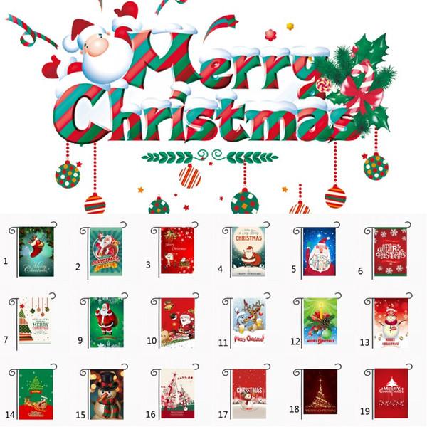 Jardín de Navidad Banderas 30 * 45cm Casa Jardín Decoración Feliz Año Nuevo Banderas poliéster Jardín decoraciones de Navidad Banner