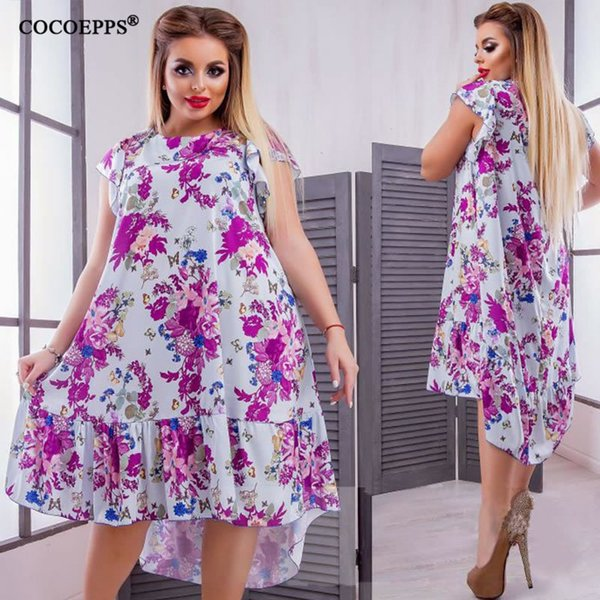 5xl 6xl Plus Size Summer Dress For Women Floral Print Party Casual Loose Big Size Dress Style Large Size Womens Clothing Dresses J190429