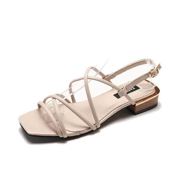 Cross strap sandals summer new low-heeled simple fish mouth Roman shoes wild women's shoes Sole Material Rubber