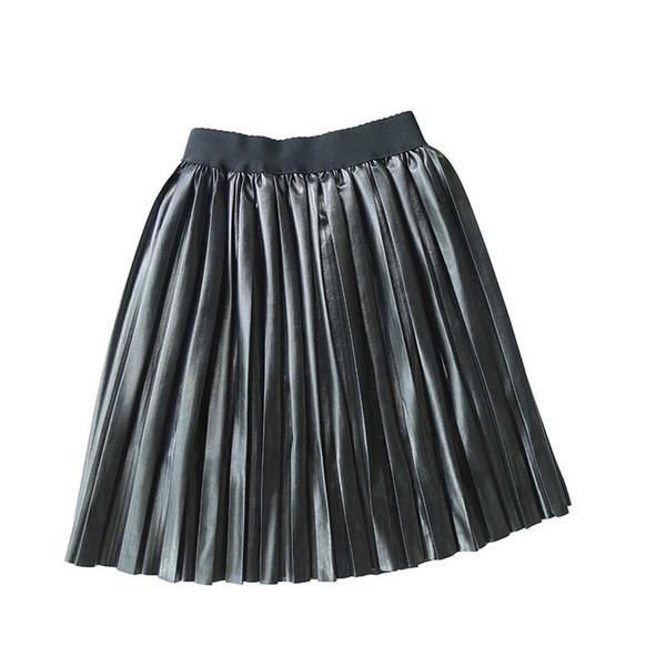 Moda Pu deri pileli kızlar yeni 2019 sonbahar kış çocuk çocuk giyim A8224 etek çocuklar tasarımcı kıyafetleri kızlar uzun etekler