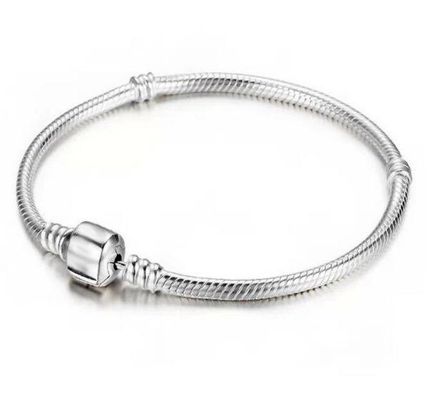 2019Factory En Gros 925 Bracelets En Argent Sterling 3mm Chaîne De Serpent ajustée Pandora Charme Perle Bracelet Bijoux Cadeau Pour Hommes Femmes