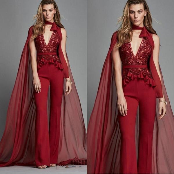 Zuhair Murad Rouge Robes De Soirée 2019 Avec Wrap Deep V Cou Dentelle Appliques Combinaisons De Bal Robe De Mousseline De Soie Robes De Fête Pantalon Costumes