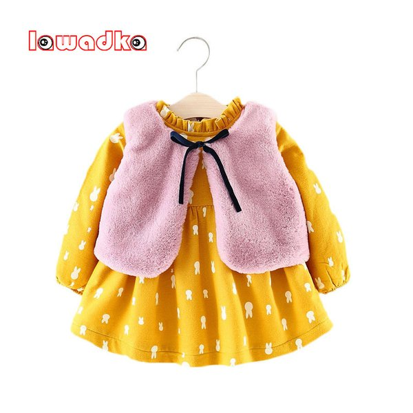 Lawadka Winter Baby Girl Dress Manga larga más vestidos de terciopelo Chaleco de piel Baby Girl Clothes 1 Year Birthday Dress Party