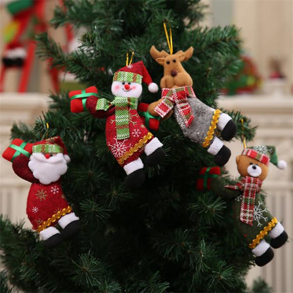 4 stilleri Merry Christmas Süsler Hediye Noel Baba Kardan Adam noel asmak süslemeleri Ağacı Bez oyuncaklar Bebek DHL JY423
