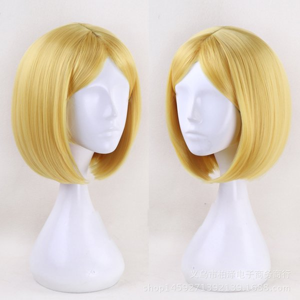 Women BOB Synthetic Hair Land of the Lustrous Yellow Diamond 35cm Short wig Cosplay Wigs Heat Resistance Anti-wrinkle Fiber wig