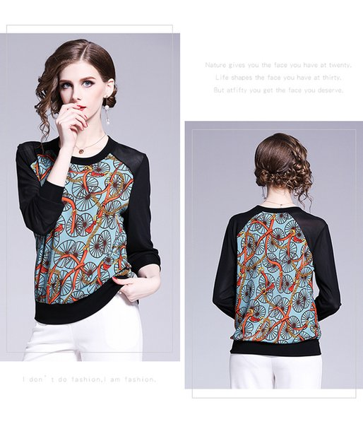 b2bb7771ae9549 2019 Ladies Tops Fashion Contrast Color Splice Round Neck Long Sleeve  Chiffon Tops for Women Spring