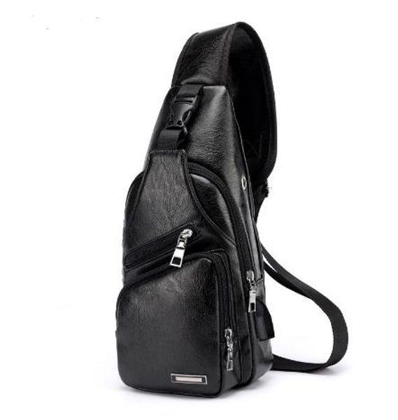 Men Crossbody Bags Men's USB Chest Bag Designer Messenger bag Leather Shoulder Bags Diagonal Package 2018 new Back Pack Travel