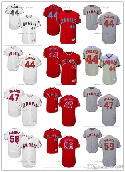 Maglie personalizzate Uomo Donna Youth Majestic LA Angels # 44 Reggie Jackson 47 Ricky Nolasco 56 Kole Calhoun 59 Tony Sanchez Maglie da baseball rosse