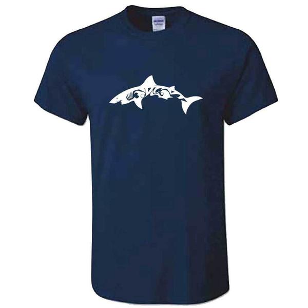 Compre Unisex Tubarao Tribal Tshirt Custom Animal Tatuagem Top T