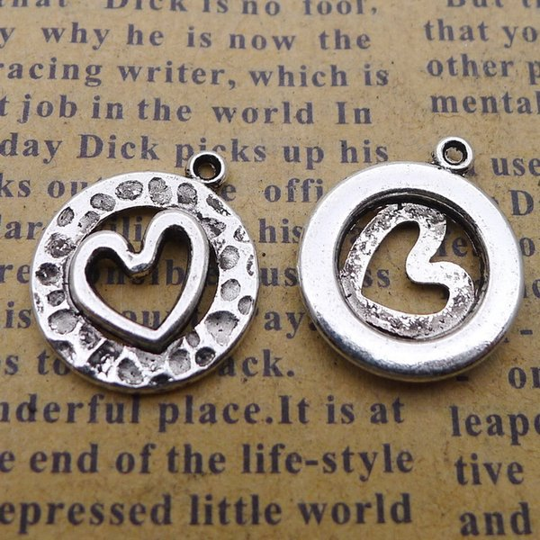 200pcs 15*17MM Antique tibetan Silver heart round charms for bracelet vintage alloy metal pendants diy earring jewelry making ornament