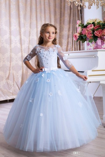 Lüks Gökyüzü Mavi Dantel Aplike Katmanlı Çiçek Kız Elbise Vintage Tül Kız Doğum Günü Prty Pageant elbise Uzun Prenses Elbiseler Çocuklar Için