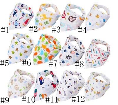 best selling Baby Print Saliva Towel Baby Infant Boy Girl Designer Clothes Cotton Triangle Newborn Turban Bib Scarf Double Snap EEA729