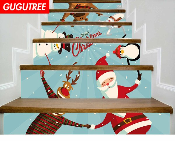 Decorate Home 3D Christmas cartoon art wall Stair sticker decoration Decals mural painting Removable Decor Wallpaper G-680