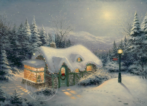 Gifts Hot Wall Art Thomas Kinkade Landscape Oil Painting Reproduction Giclee Print On Canvas Modern Home Art office Living Room Decor tms069