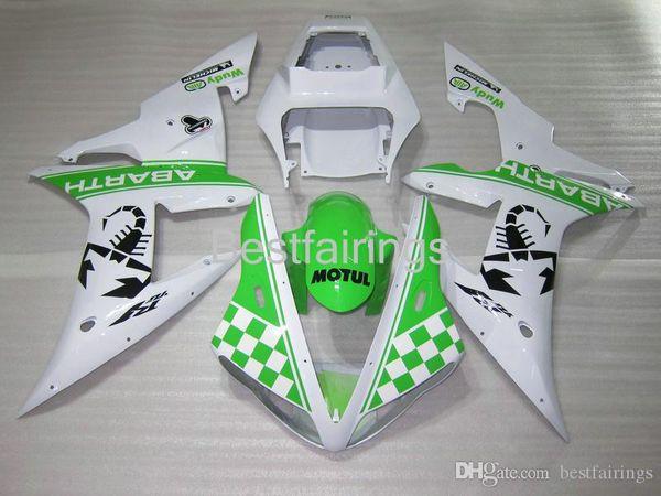 100% Fitment. Injection molding fairing kit for YAMAHA R1 2002 2003 white green fairings YZF R1 02 03 HF36