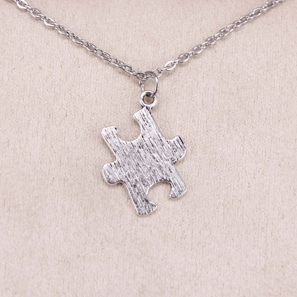 New Fashion Tibetan Silver Pendant jigsaw puzzle 21*18mm Choker Charm Short Long DIY Necklace Factory Price Handmade Jewelry