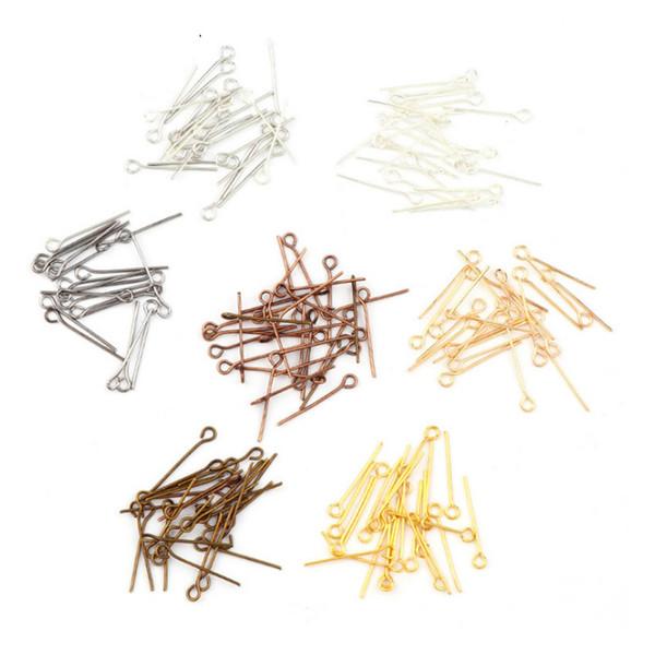 Chaud! 300pcs / lot Argent / Or / Brun Plaqué Eye Pins Aiguilles Résultats de Bijoux Accessoires Utile Bijoux DIY Matière Longueur 40mm