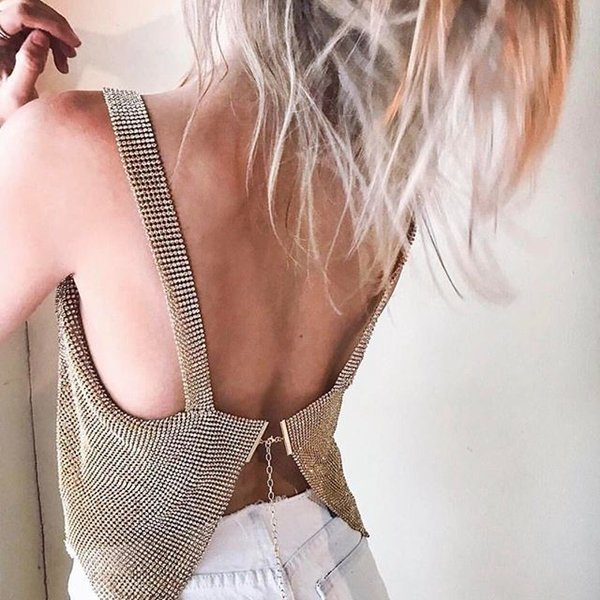 Crystal Mesh Top Womens Diamond Metal Crop Top Sexy Gold Silver Black Sequin Draped Chain Back Forks Club Vest Y19042801