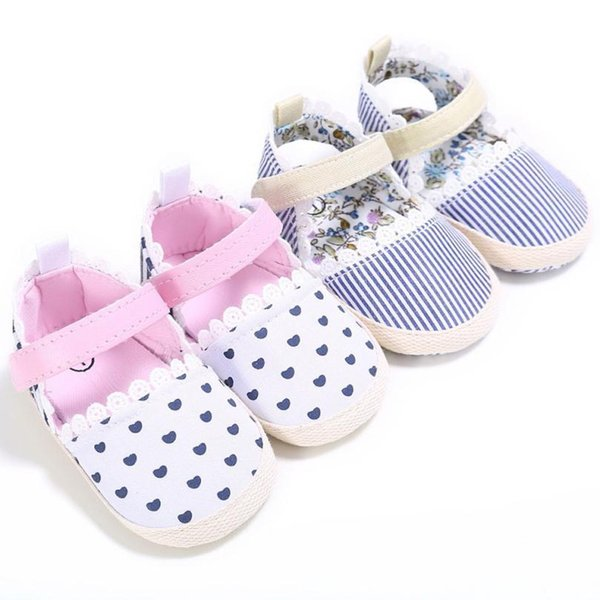 good quality Baby Girls Heart Stripe Print Shoes Sneaker Anti-slip Soft Sole Toddler Shoes